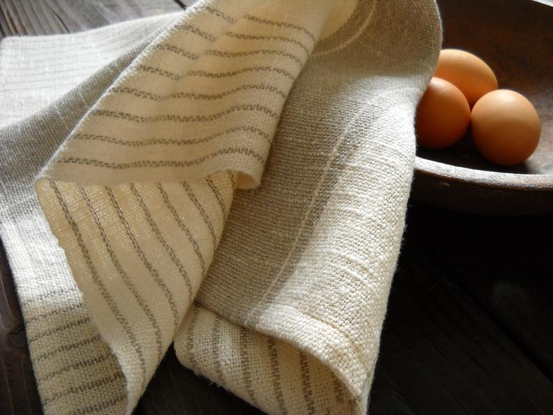 Image of Hand Woven Linen Tea Towel, Cream with Taupe Stripes Woven Lightweight Cotton Linen Kitchen Towel