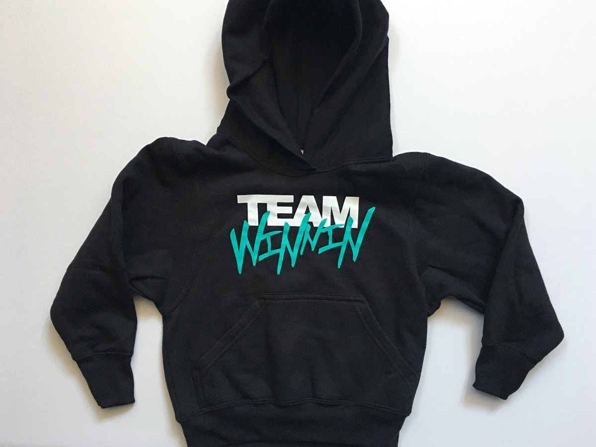"Image of LAST SMALL Teal ""TEAM WINNIN"" KIDS Hoodies"