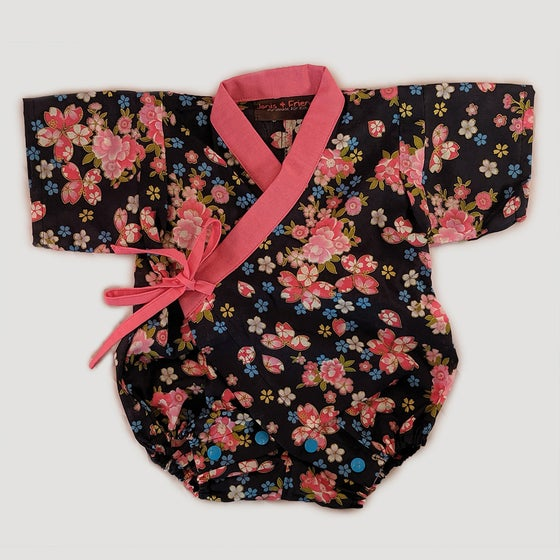 Image of Baby Kimono Romper - Contrast Collar