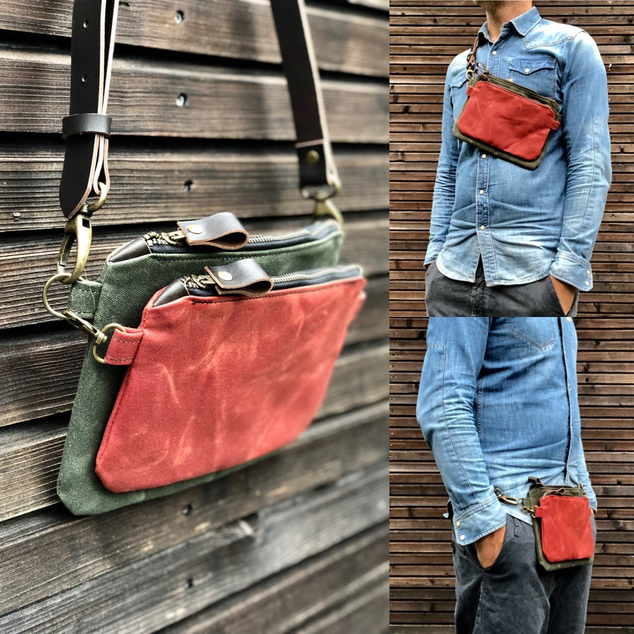 Image of Waxed canvas fanny pack / belt bag / chest bag /  kangaroo bag with leather shoulder strap