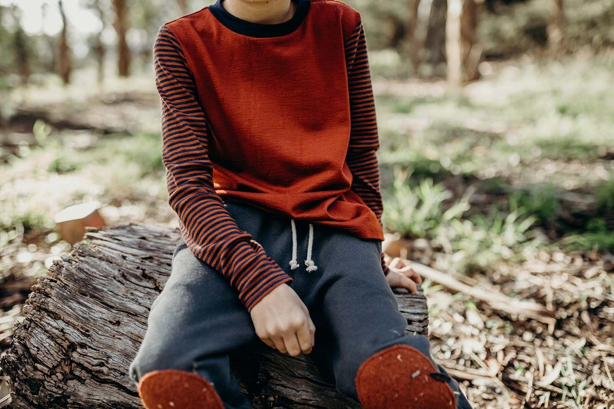Image of Cinnamon striped Merino top
