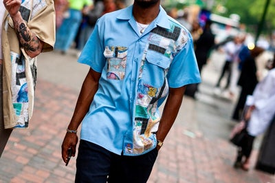 Image of AXECENTS MAP PACK S/S WORK SHIRT - LIGHT BLUE