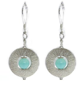 Image of Peruvian Andean Opal Silver Flat Ring Earrings