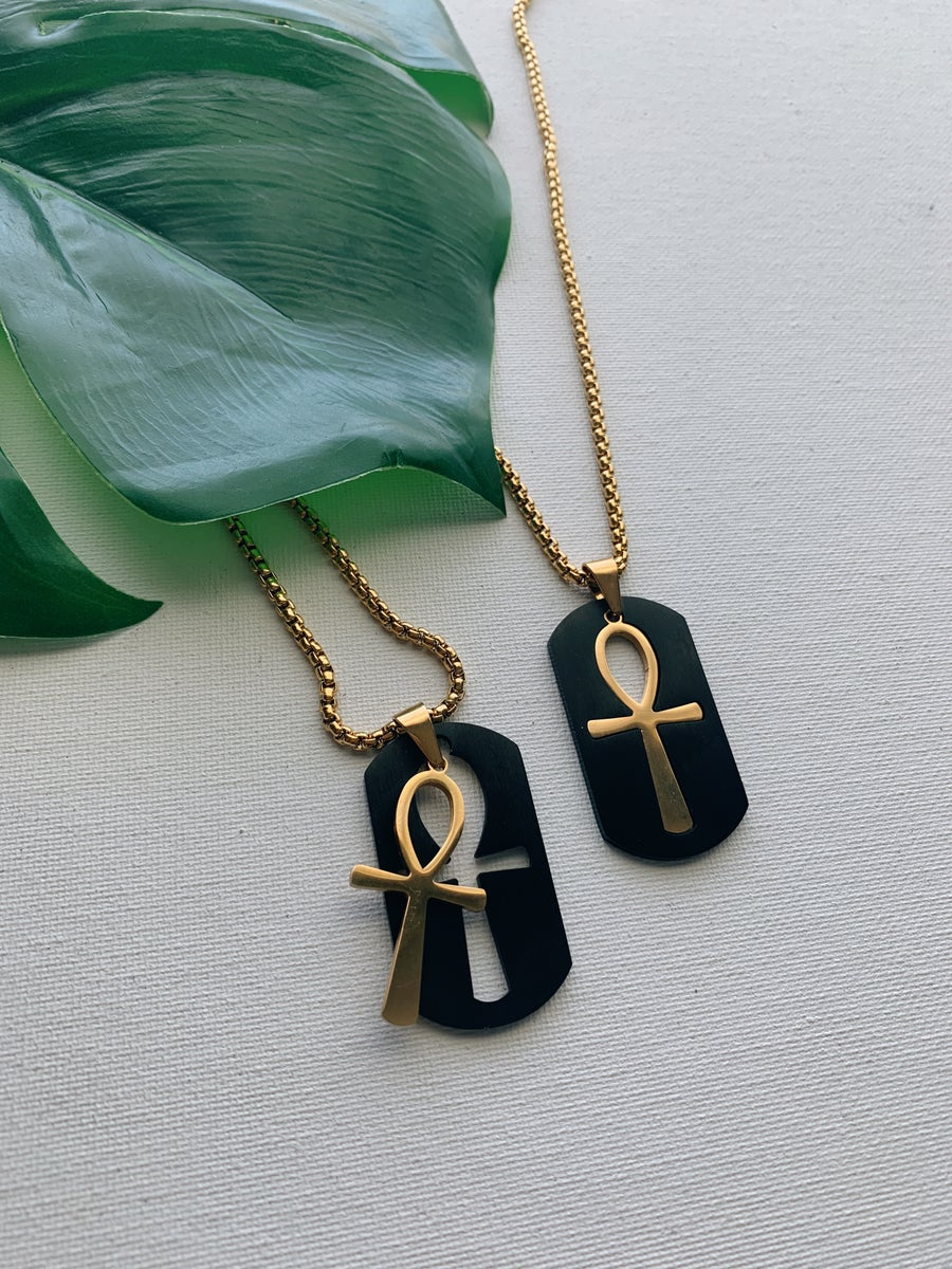 Image of KAMAL • Ankh and Dog Tag Necklace