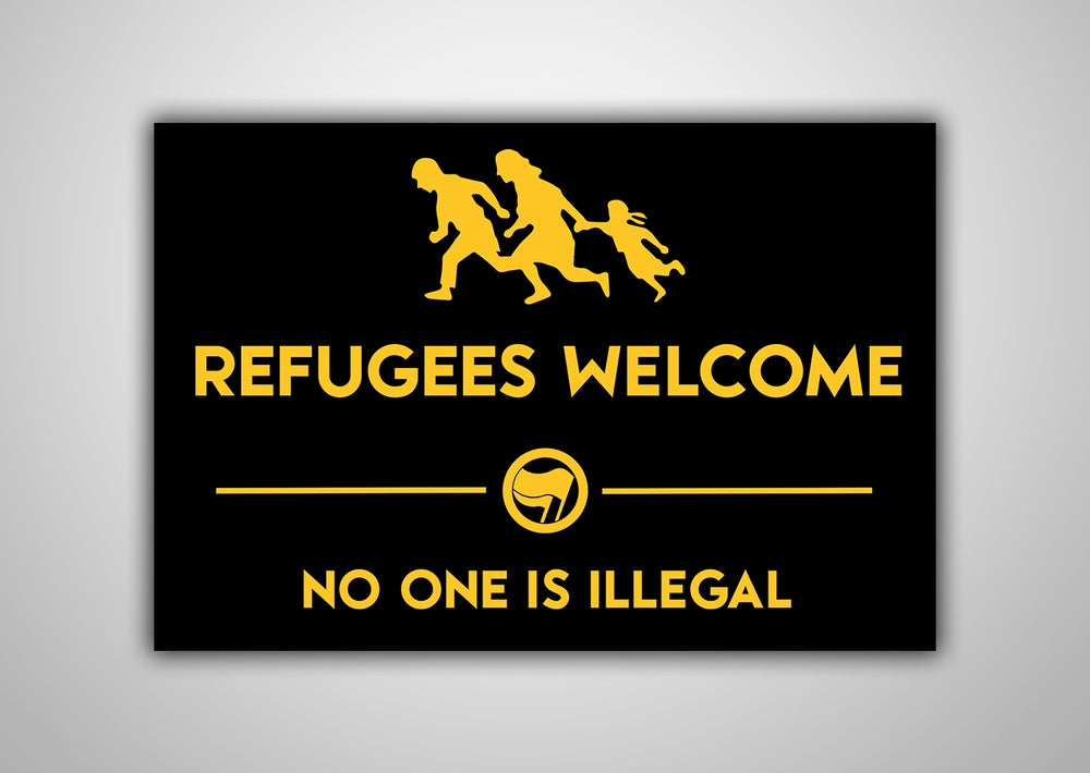 "Image of 100 Autocollants ""REFUGEES WELCOME"""