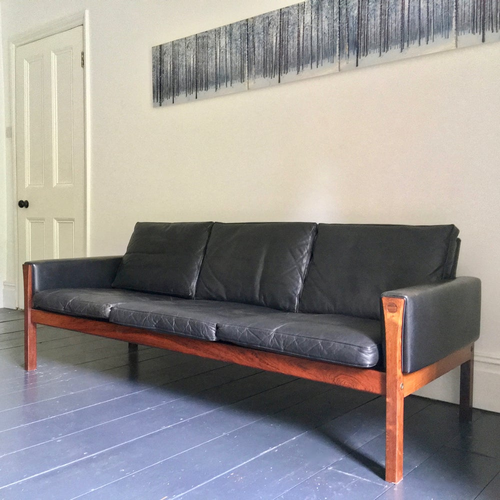 Image of Black Leather Sofa by Hans Wegner, Denmark 1960s