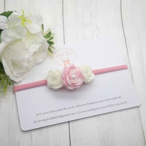 Image of Pink / White 3 Rose Headband