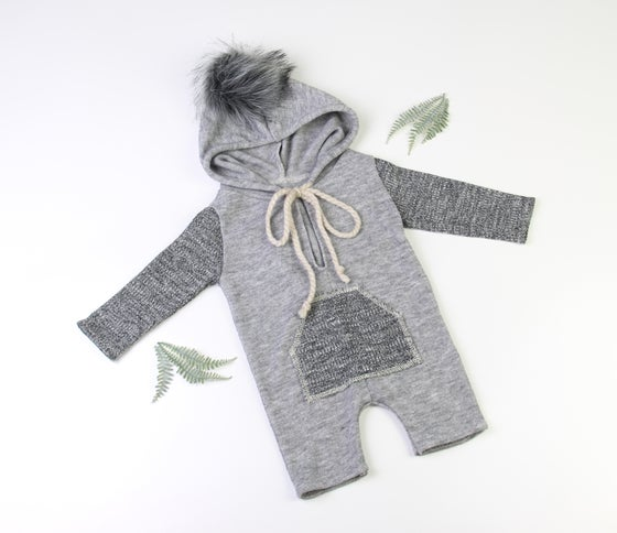 Image of Sitter Grey Boy Winter Romper - fits 6 to 9 months