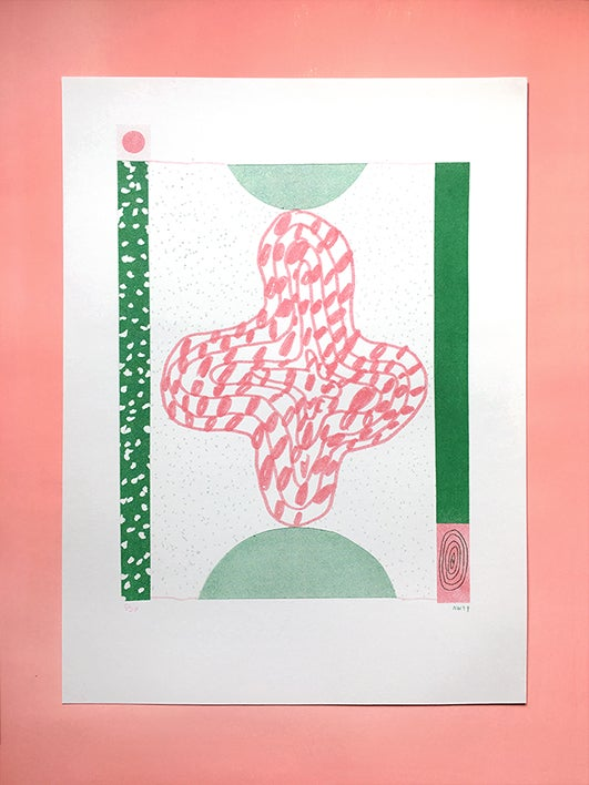 Image of This on That (Pink and Green) - 2 colour Risograph print