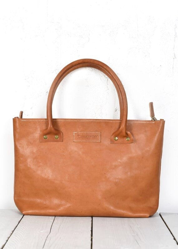 Image of Small Leather Briefcase, Cognac Colored Zip Bag