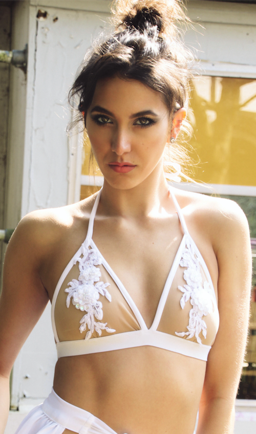 Image of Jacksons Fashion - White Applique Mesh Bralet