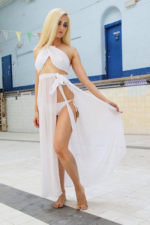 Image of Jacksons Fashion - White Cover Up Wrap Skirt