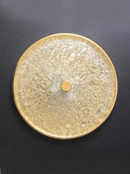 "Image of 18"" Midcentury Flush Mount in Textured Glass by Kaiser Leuchten"