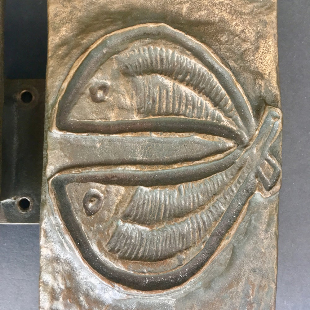 Image of Set of Bronze Door Handles with Fish Design