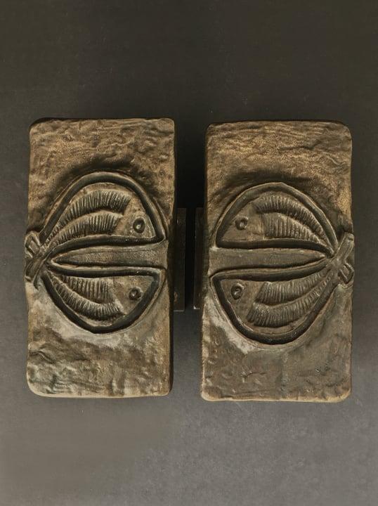 Image of Set of Bronze Door Handles with Fish Design, European 1970s