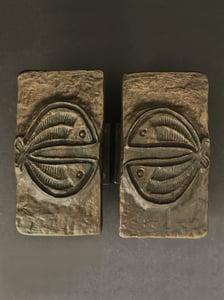 Image of Set of Bronze Door Handles with Fish Design