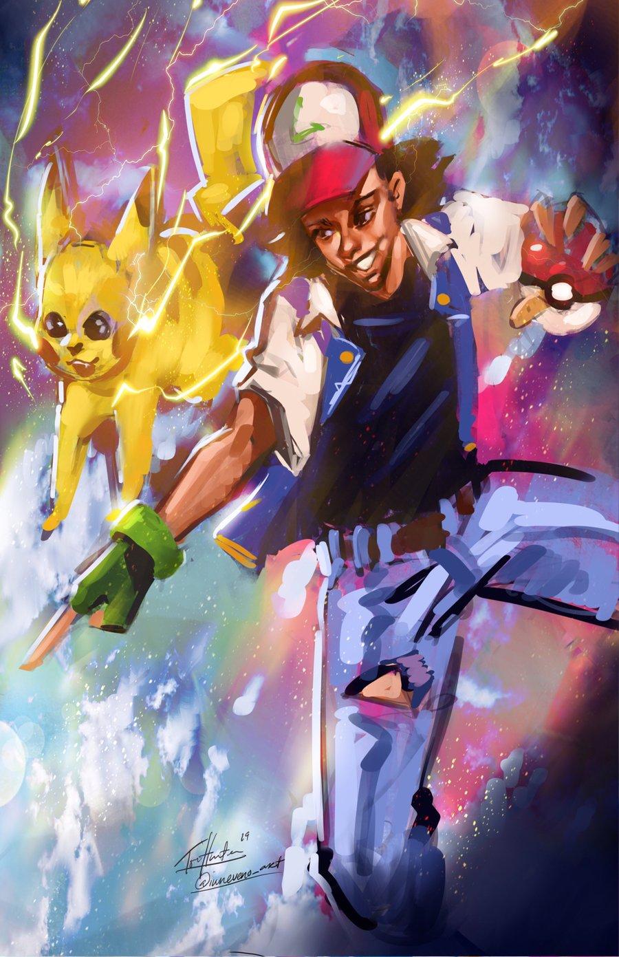 Image of Ash and Pikachu