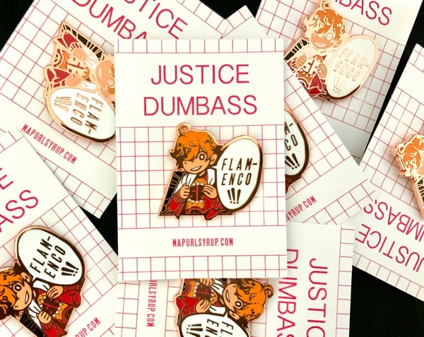 Image of Samurai Flamenco: Justice Dumbass Enamel Pin