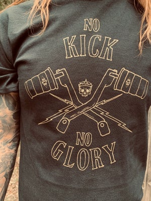 Image of No kick No glory gold on black t-shirt
