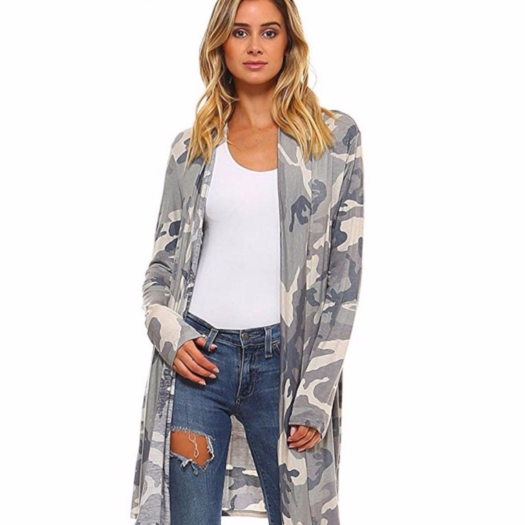 Image of Camouflage print open jersey cardigan