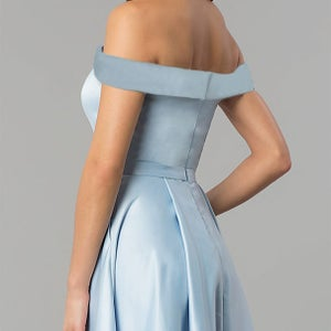 Image of Light Blue Long Off-Shoulder Long Prom Dresses, A-line Satin Formal Party Gowns With Pockets Slit
