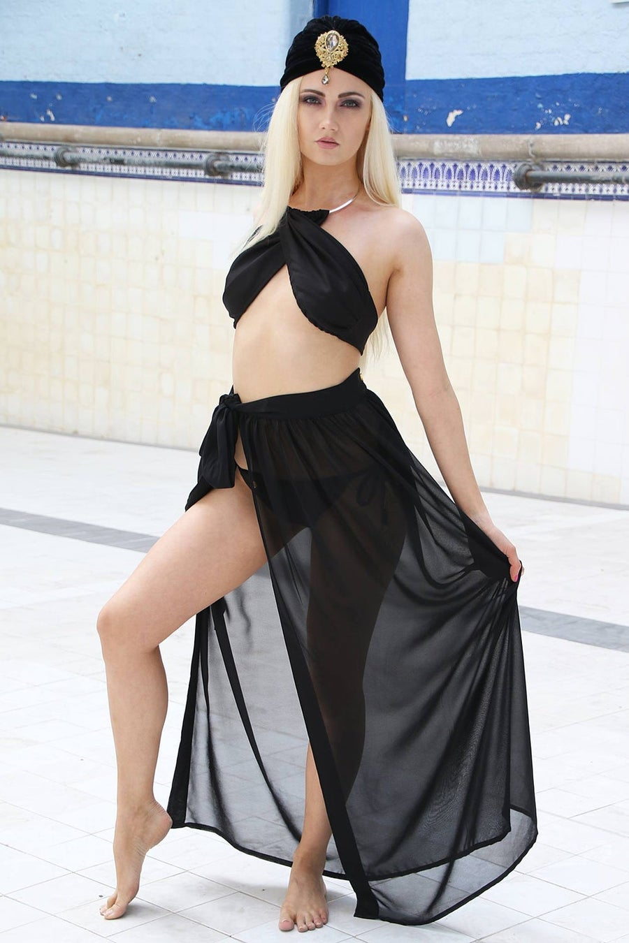 Image of Jacksons Fashion - Black Cover Up Wrap Skirt
