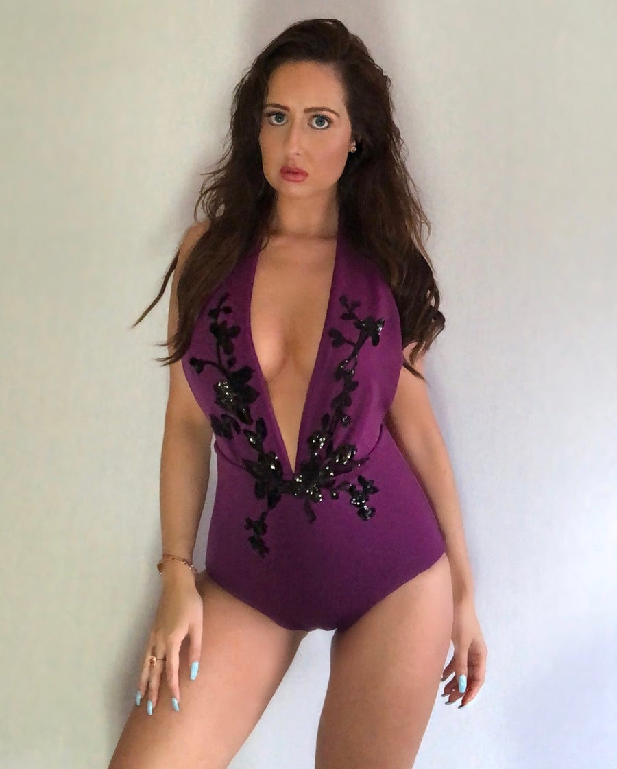 Image of Jacksons Fashion - Purple Sequin Floral Swimsuit