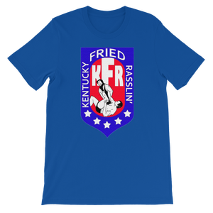 Image of KFR's AWA-Bastardized Logo Tee (Black, Battle Royal Blue, Midnight Rocker Blue)