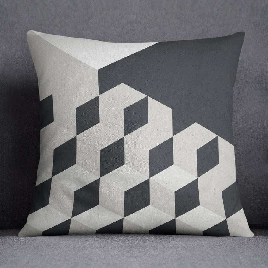 Image of Gradient Cubes Square Throw Pillow