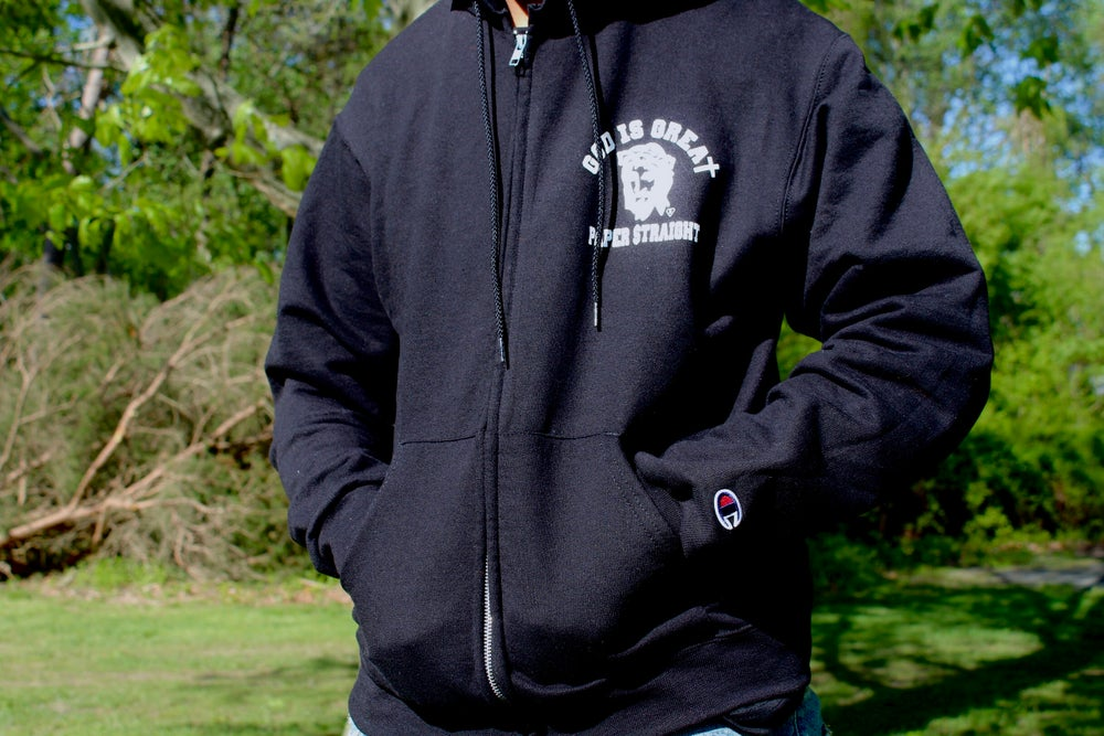 Image of GOD IS GREAT PAPER STRAIGHT ZIPPERED BLACK & WHITE LOGO HOODIE