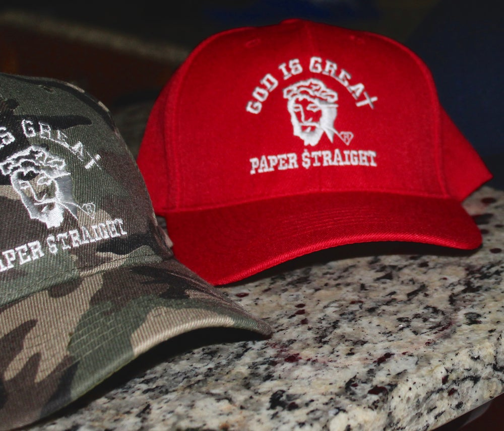 Image of GOD IS GREAT PAPER STRAIGHT RAIDER CAP