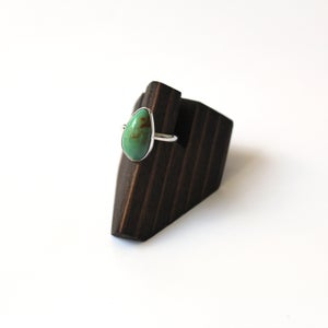 Image of Green Turquoise Sterling Silver Ring - Size 5