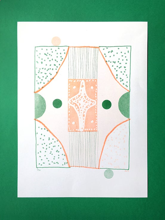 Image of This on That (Green and Orange) - 2 colour Risograph print