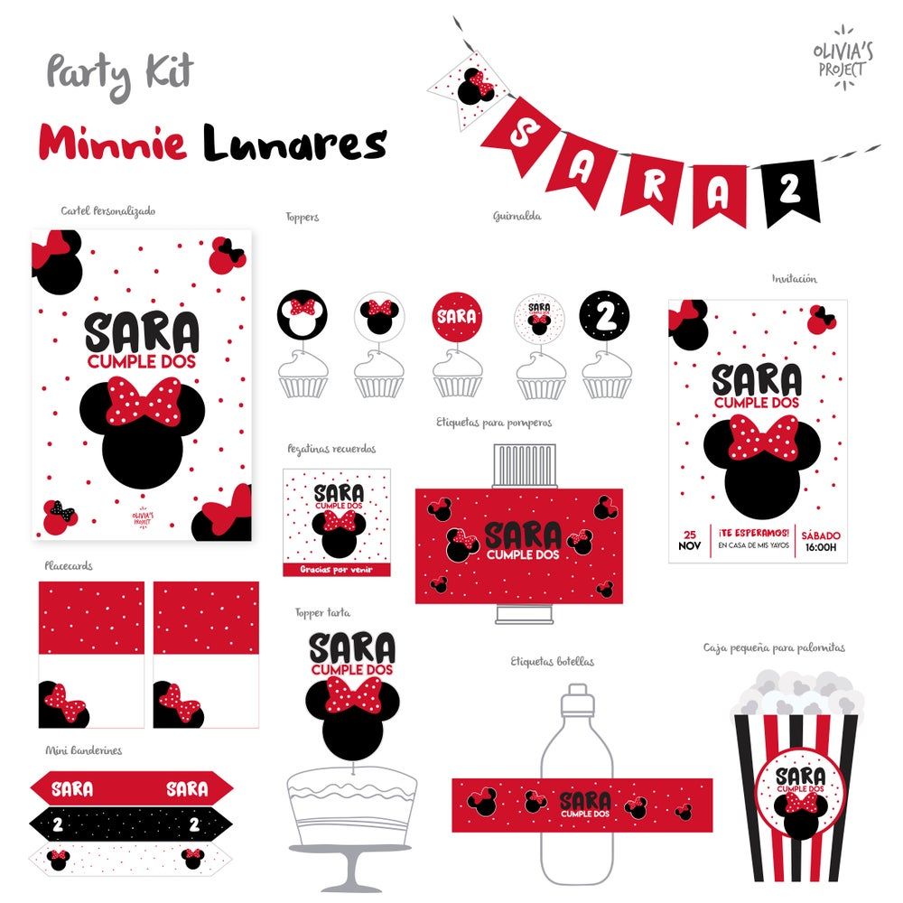 Image of Party Kit Minnie Lunares Impreso
