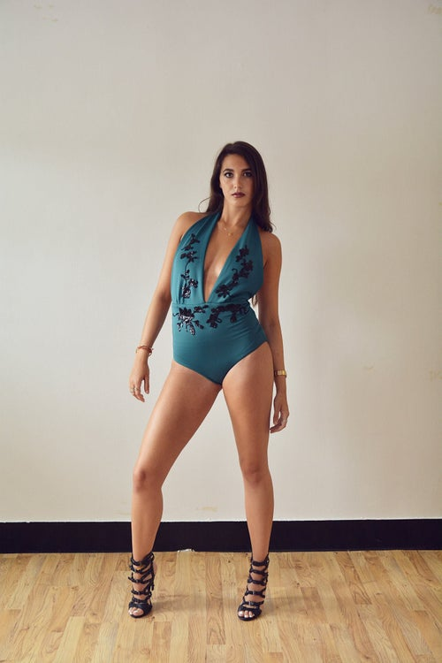 Image of Jacksons Fashion - Teal Sequin Floral Swimsuit