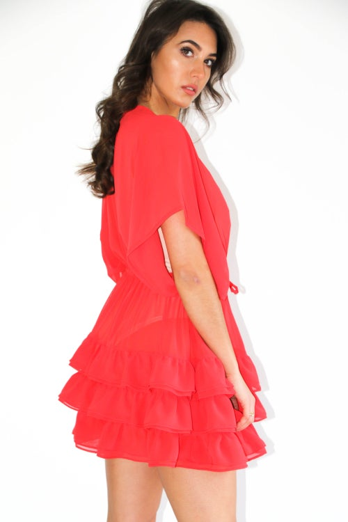 Image of Jacksons Fashion - Cherry Red Ruffle Kimono