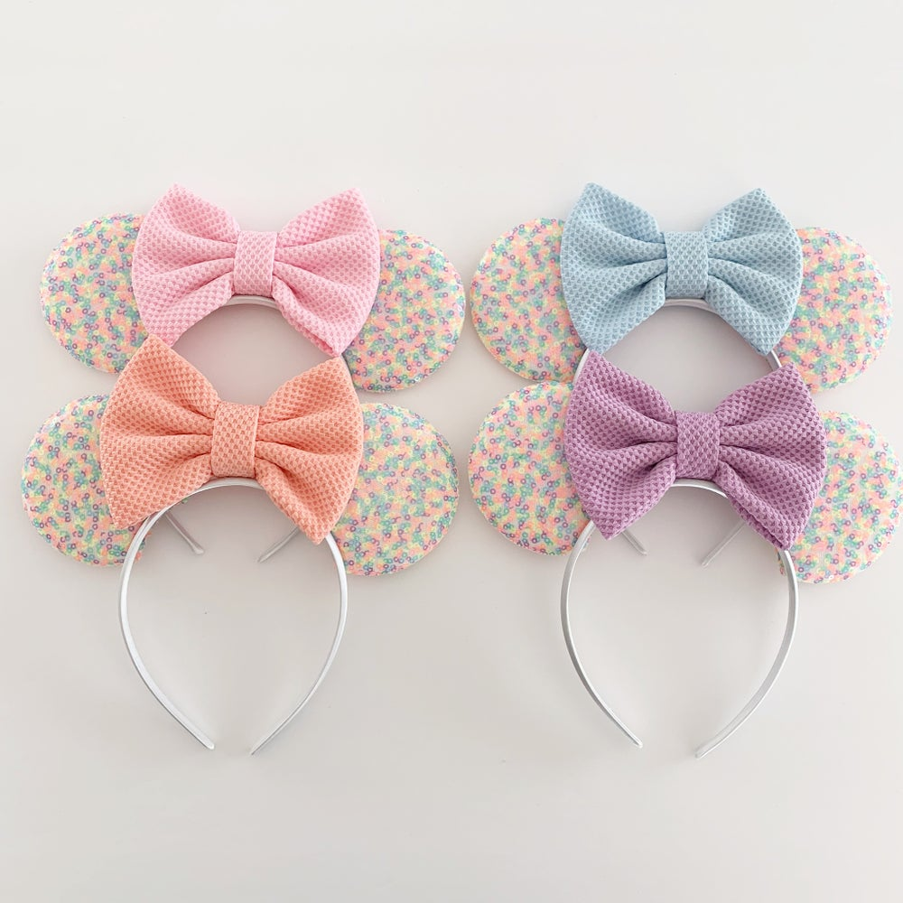 Image of  Confetti Mouse Ears with Pastel Waffle Bows
