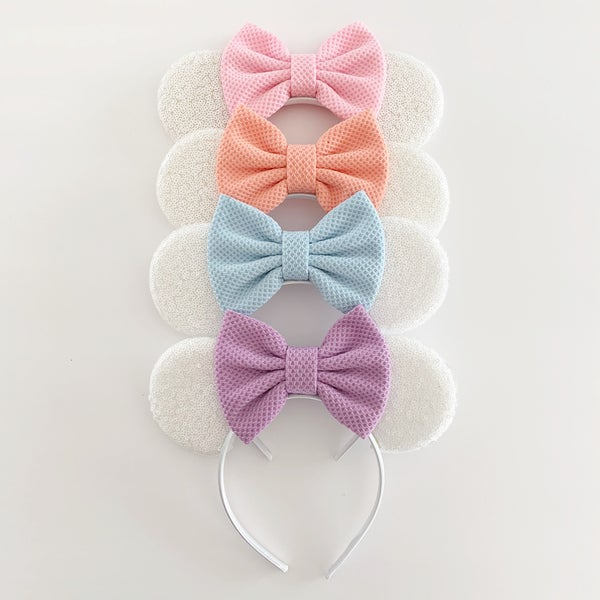 Image of Matte White Mouse Ears with Pastel Waffle Bows