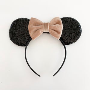 Image of Black Mouse Ears with Velvet Bows