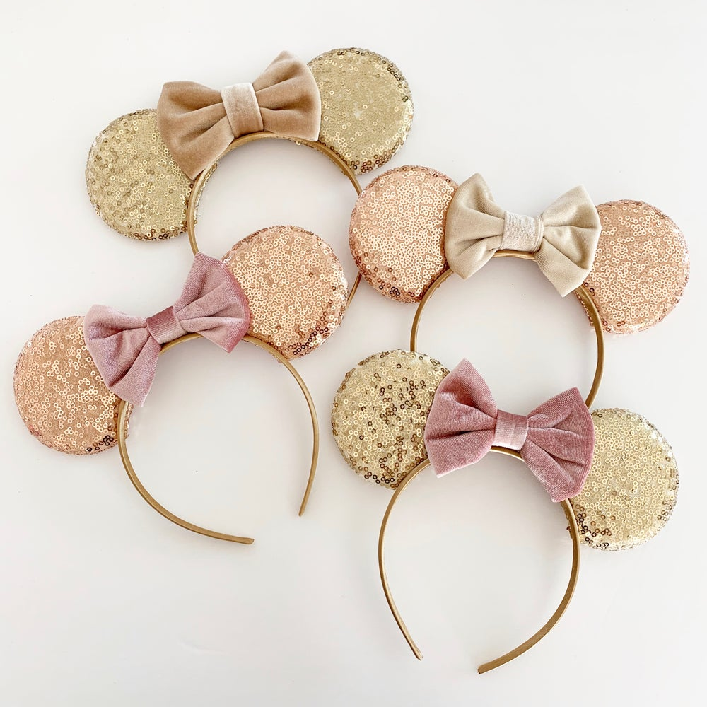 Image of Gold and Rose Gold Mouse Ears with Velvet Bows