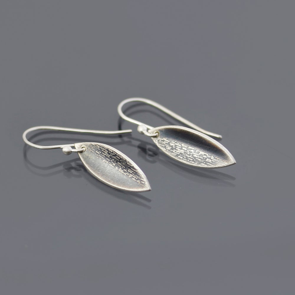 Image of Textured Sterling Silver Leaf Earrings