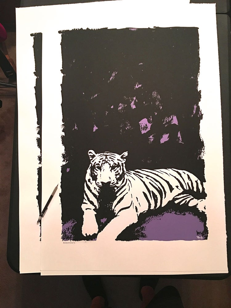 Image of White tiger -  Very limited edition screen print, 24 x 36