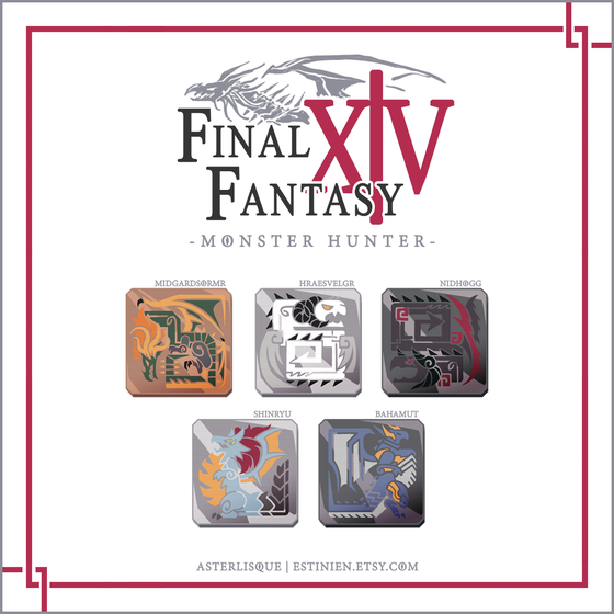 Image of PREORDER /// FFXIVxMH Dragon Enamel Pins
