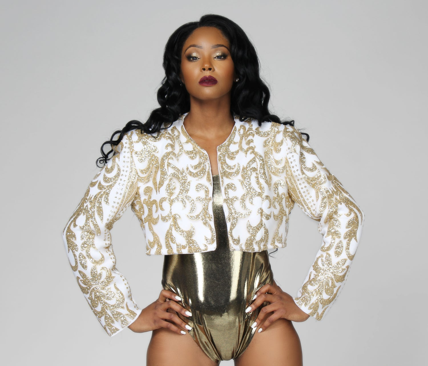 Image of Opulent Crop Jackets (Gold + White) (Black + Silver)
