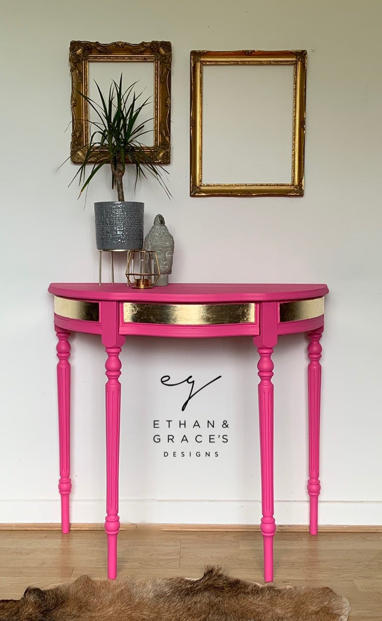Image of Pink & gold half moon table