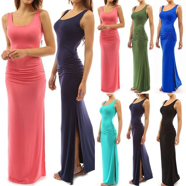 Image of Fashion Solid Color Sleeveless Round Neck Slit Hem Maxi Dress