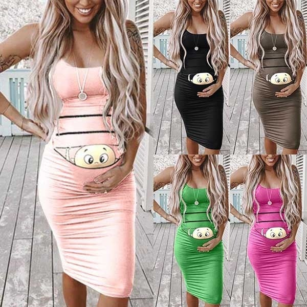 Image of Cute Cartoon Printed Sleeveless Slim Fit Maternity Dress