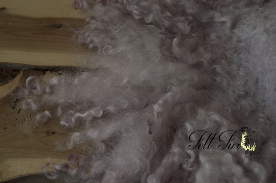 Image of Dusky Lilac Curly Fringe Felted Napkin (D46), Newborn Photography Wool Prop. Size D. Ready to Ship.