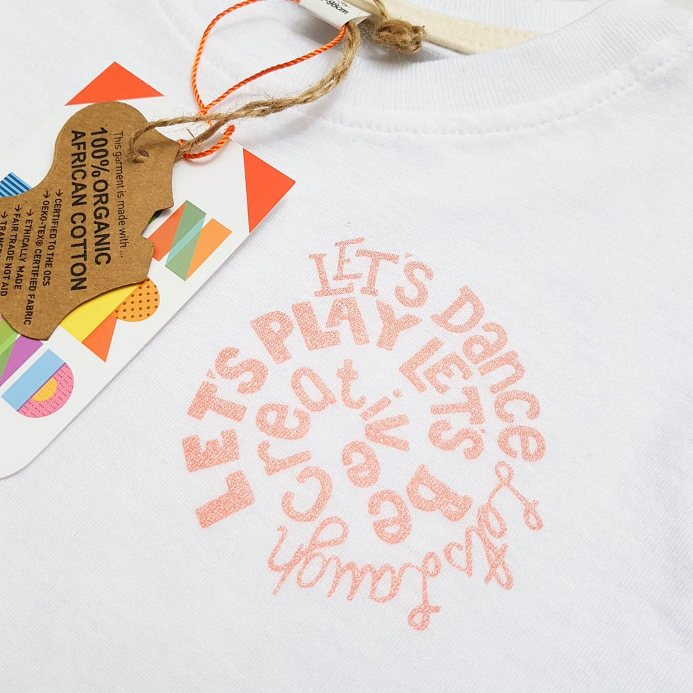 Image of Let's Be Creative Kids Organic Cotton T-shirt in Coral