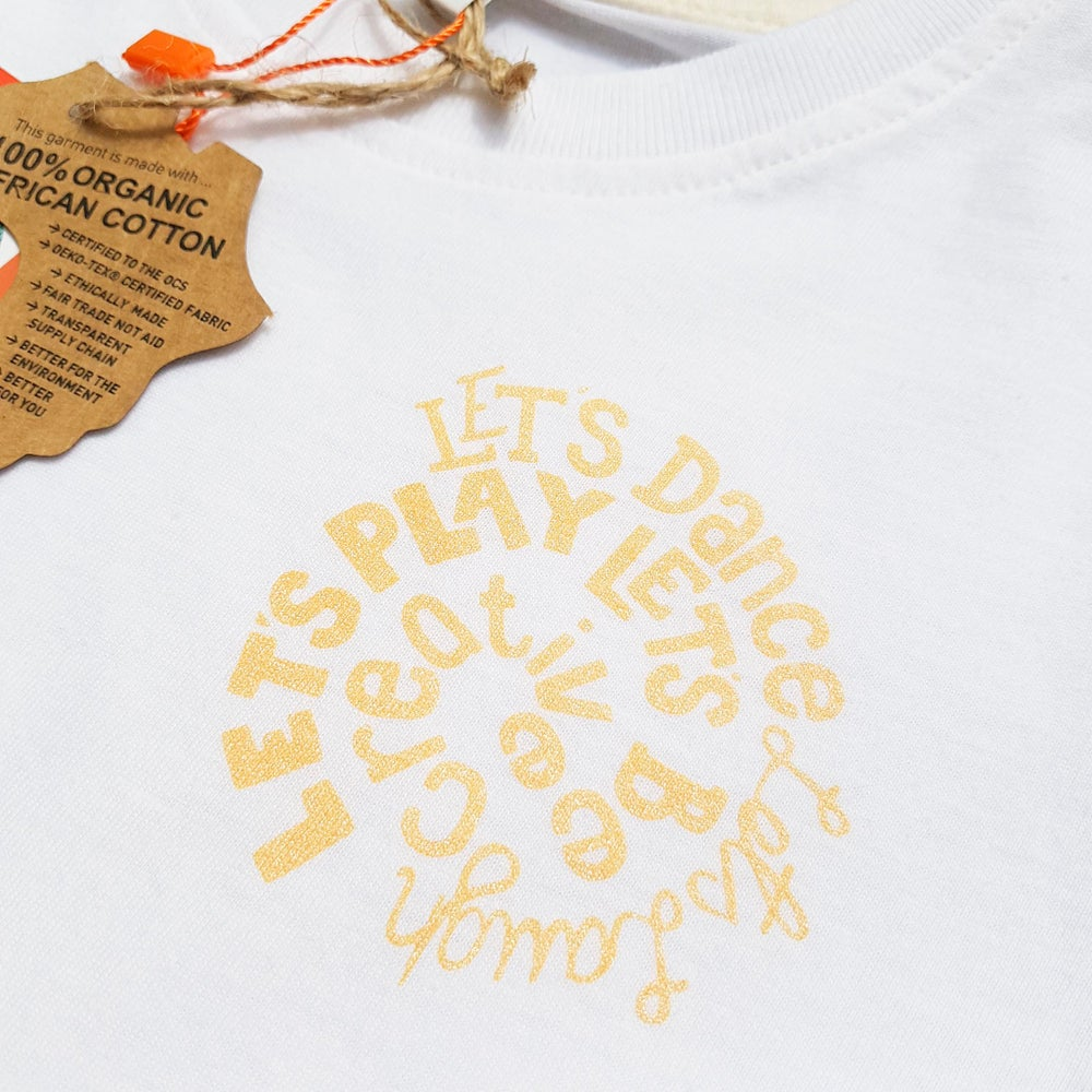 Image of Let's Be Creative Kid's Organic Cotton T-Shirt in Golden Yellow